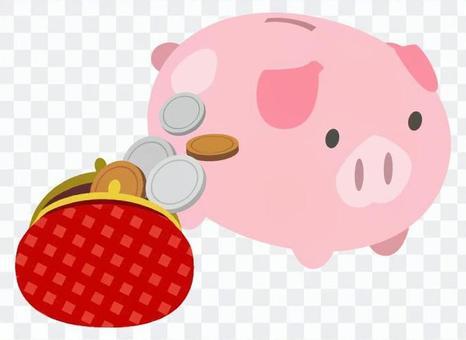 豬的儲蓄罐和瓷Saifu