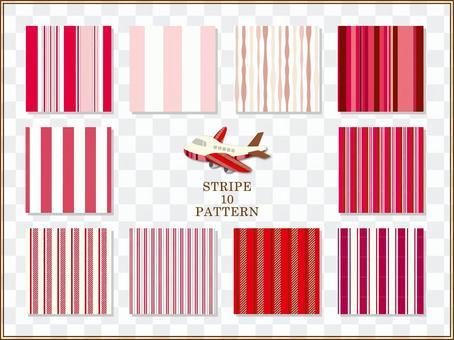ストライプパターン(赤)