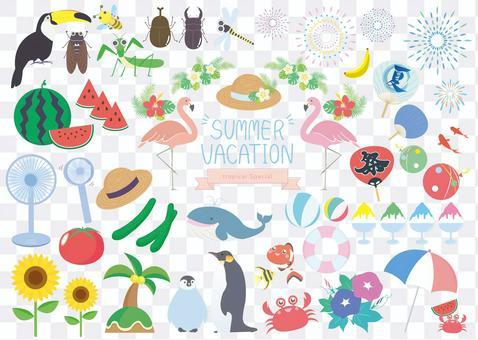 Summer vacation summer illustration material set