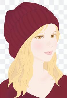 秋季針織帽波爾多