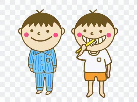 Hand-painted children wearing pajamas and brushing their teeth