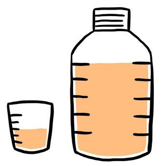 Orange liquid medicine