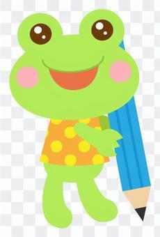 鉛筆 書く 勉強 カエル 蛙 2