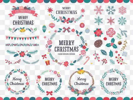 クリスマスの植物のフレームと装飾セット