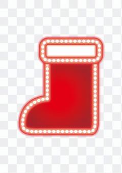 霓虹標誌·聖誕老人靴子(白色背景)
