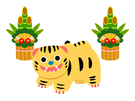 Cute tiger papier mache and kadomatsu