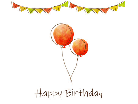 Simple birthday card with red balloons