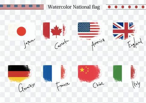 手寫的國旗水彩風格的插圖