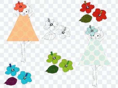 夏天的芙蓉和一個女孩的插圖