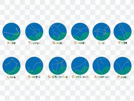 12 constellation icon set