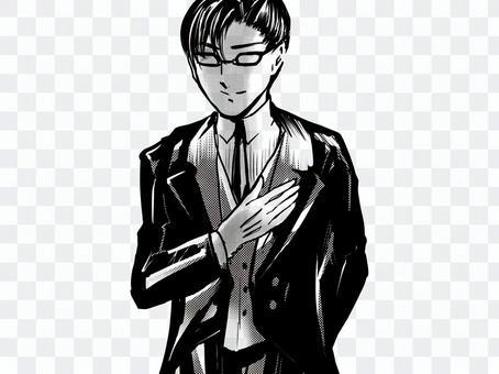 Shojo漫畫英俊的管家任務承擔姿勢