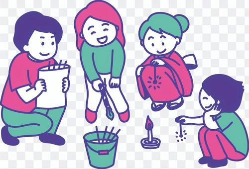 家庭3彩色插圖欣賞手持煙花