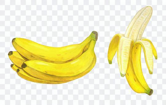バナナの房、剥いたバナナ