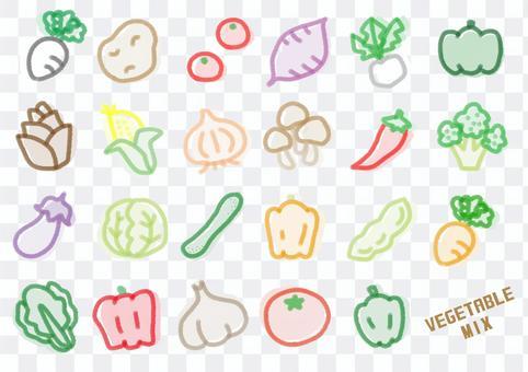 蔬菜手寫的蠟筆顏色