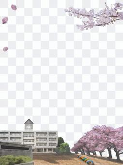 學校教學樓櫻花校園圖