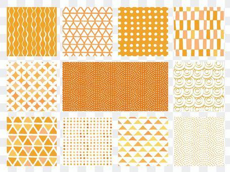 Handwritten style Japanese pattern background set (orange)