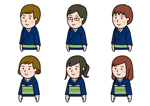 Men's and women's set color in kimono