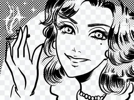 美國漫畫美女香煙在一隻手微笑