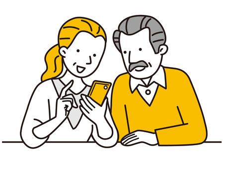 看智能手機的資深夫婦