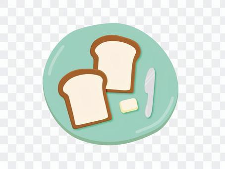お皿の上のパン2枚