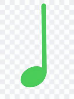 Green quarter note symbol sheet music note
