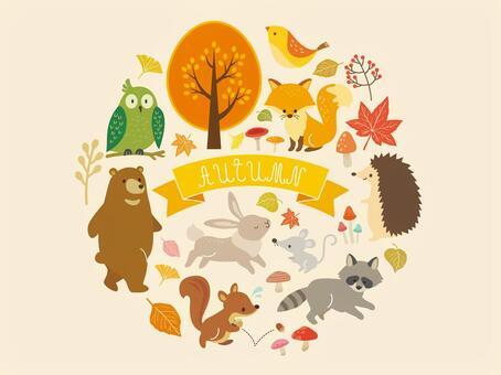 秋天的動物和植物插圖(2)