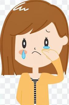 哭泣,女性(半長)上半身,沒有主線