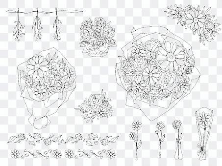 時尚花卉插圖集花束