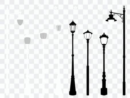 Hand-painted retro streetlight set silhouette