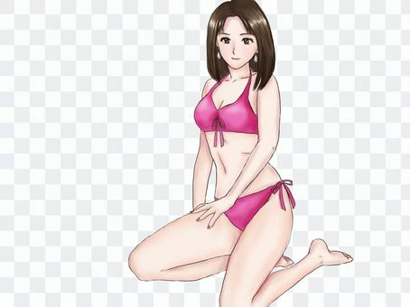 Woman in swimsuit (pink bikini)