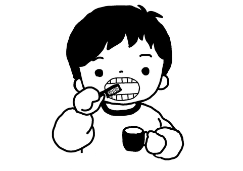Black and white illustration of a boy brushing his teeth