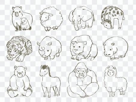 動物可愛變形集的線條藝術