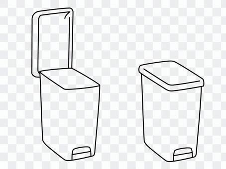 手繪線描踏板式垃圾桶