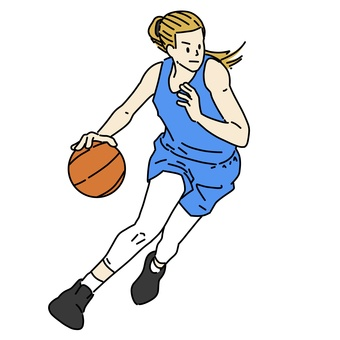 Female basketball player to dribble
