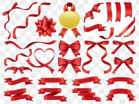 Red ribbon ornament set