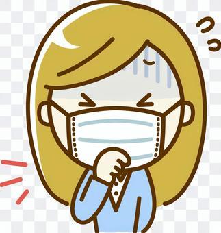 一個戴著面具咳嗽的女人