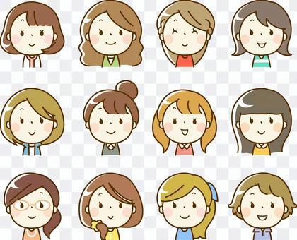 各种女性脸部图标(上半身)