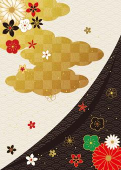 日本圖案和金箔 cloud_black 垂直背景 2866