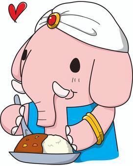 Curry eating elephant
