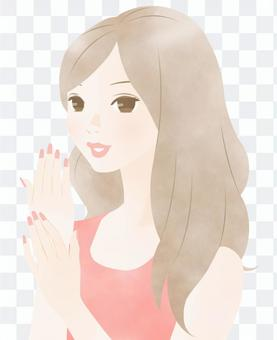 指甲護理圖像(粉紅色)