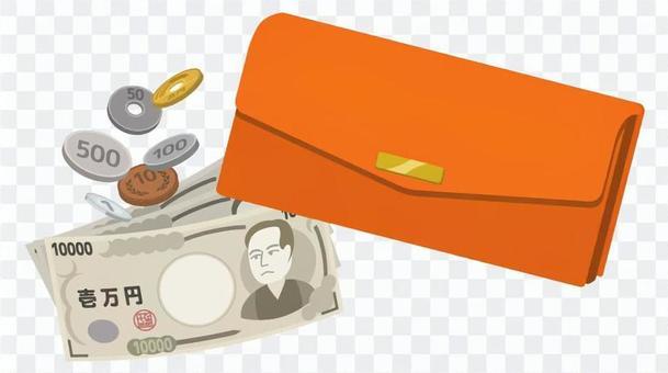 長錢包和現金(橙色