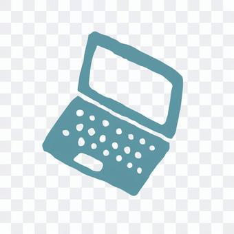 版画風アイコンシリーズのノートパソコン