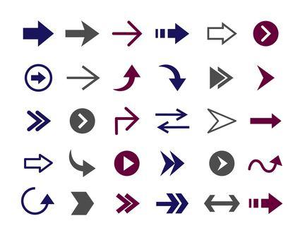Simple arrow set in 3 colors