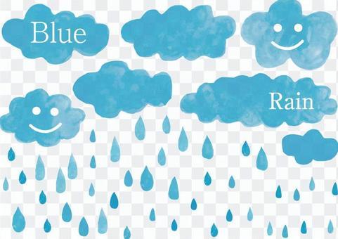 水彩藍色雨雲藍色水彩