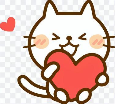 心臟標記和白色貓