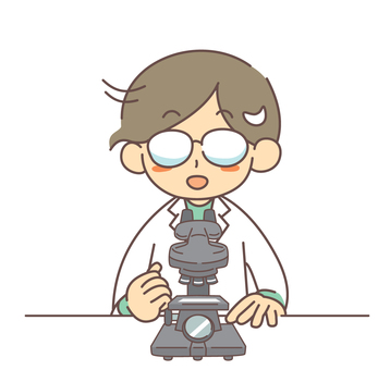 Man with microscope and smiling glasses