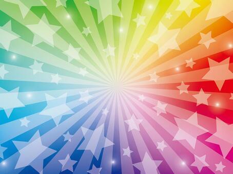 星星的徑向背景(彩虹色)