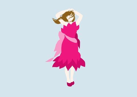 彩色剪影_成人女孩_粉紅色連衣裙