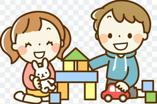 男孩和女孩在一起在室內玩