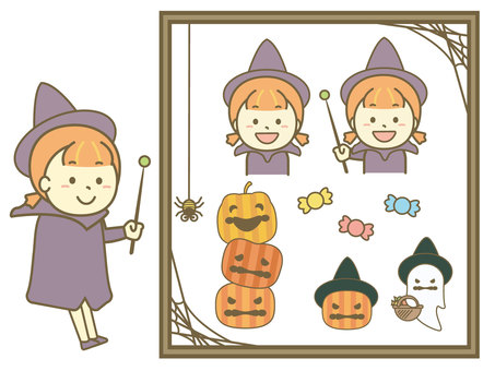 Witch and Halloween illustration set